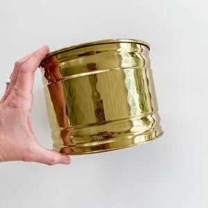 Vintage Bristol Brass Gold Tin Canister Planter